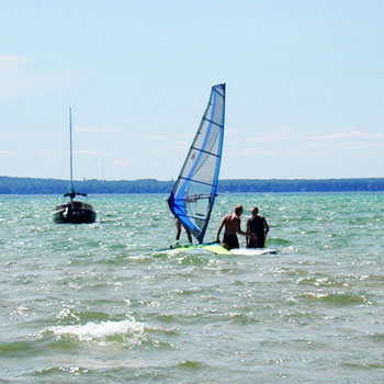 Windsurfing on Higgins Lake